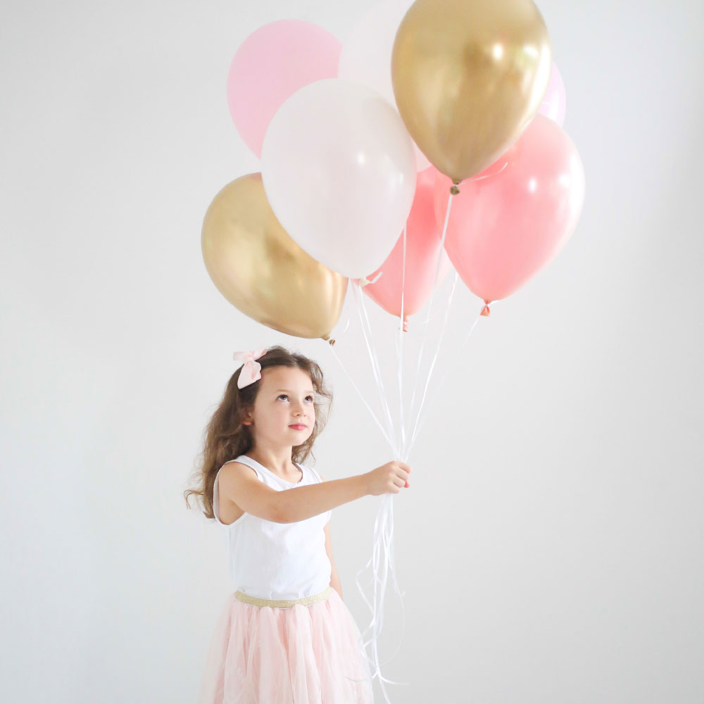 Pink & Gold Balloon Bouquet - 8 Pack - The Party Pack Co