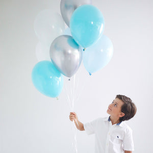 Blue & Silver Balloon Bouquet - 8 Pack - The Party Pack Co