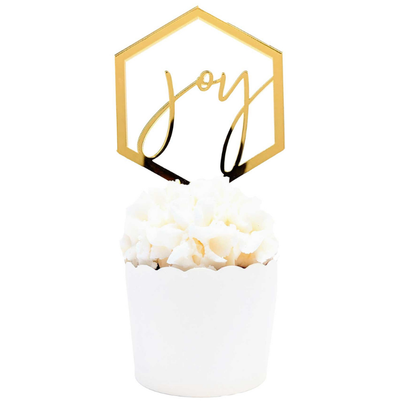 Gold Script Joy Ornament/Tag - Set of 4 - The Party Pack Co