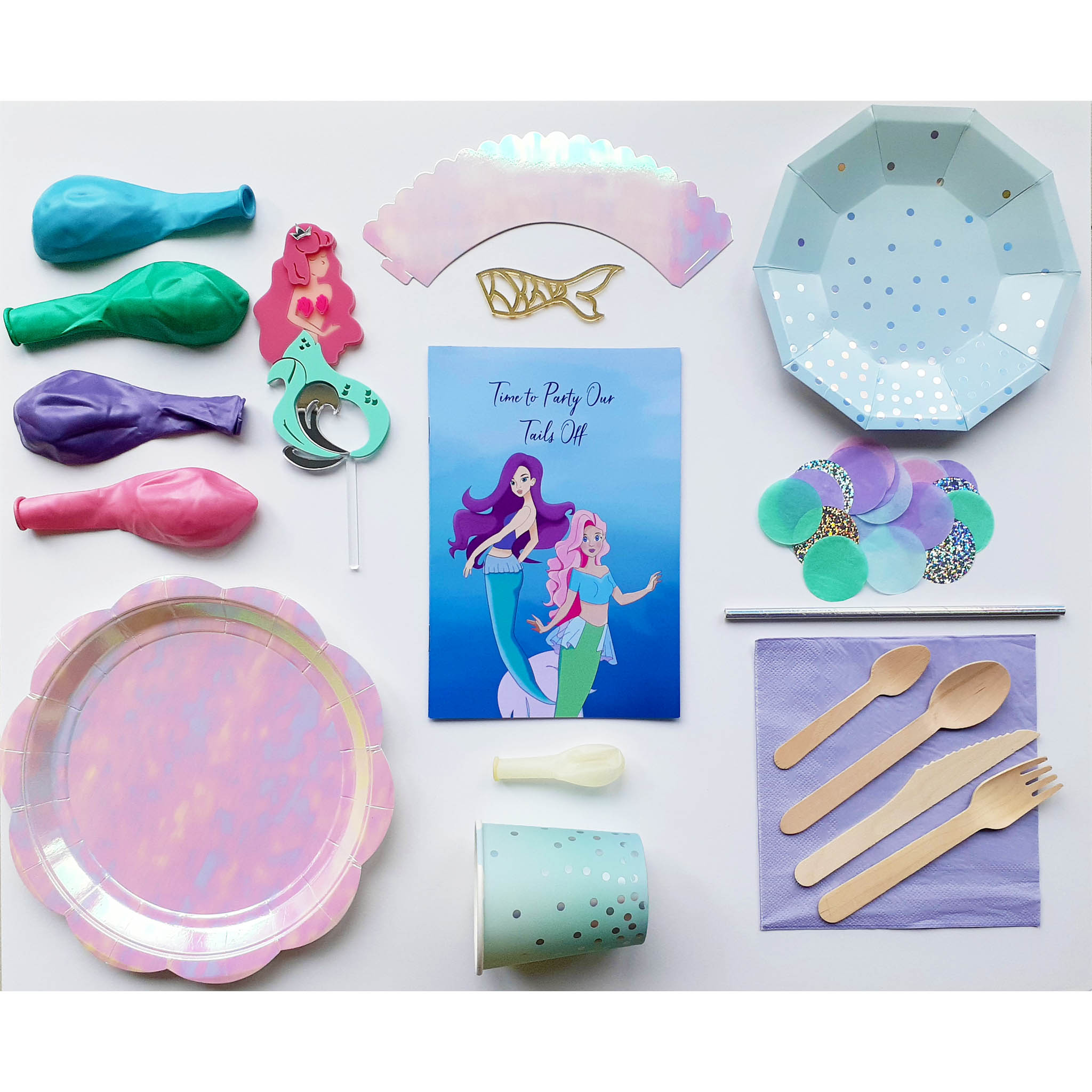 Mermaid The Whole Party Pack - 10 people. - The Party Pack Co
