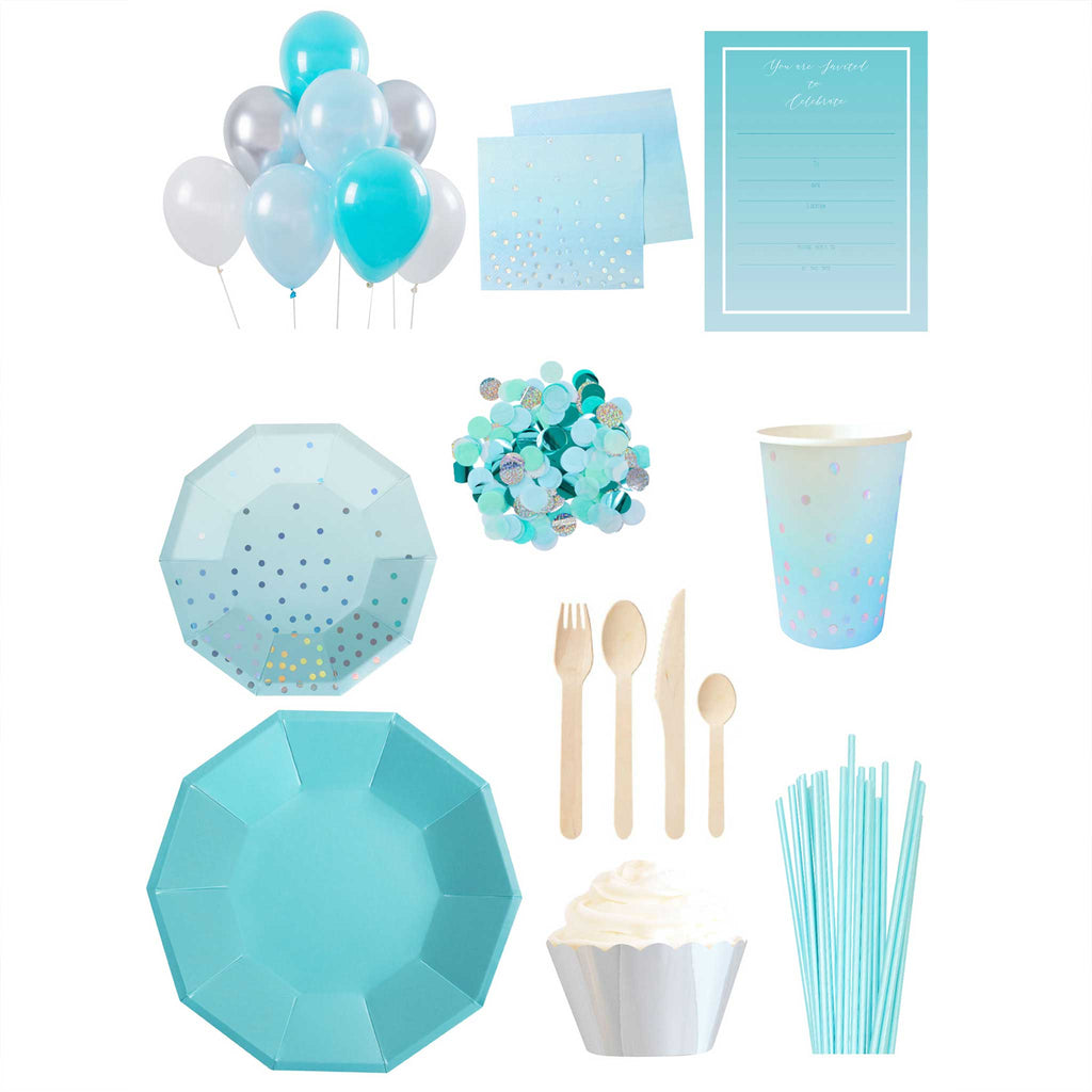 Blue and Iridescent Essential Party Pack - up to 10 people - The Party Pack Co