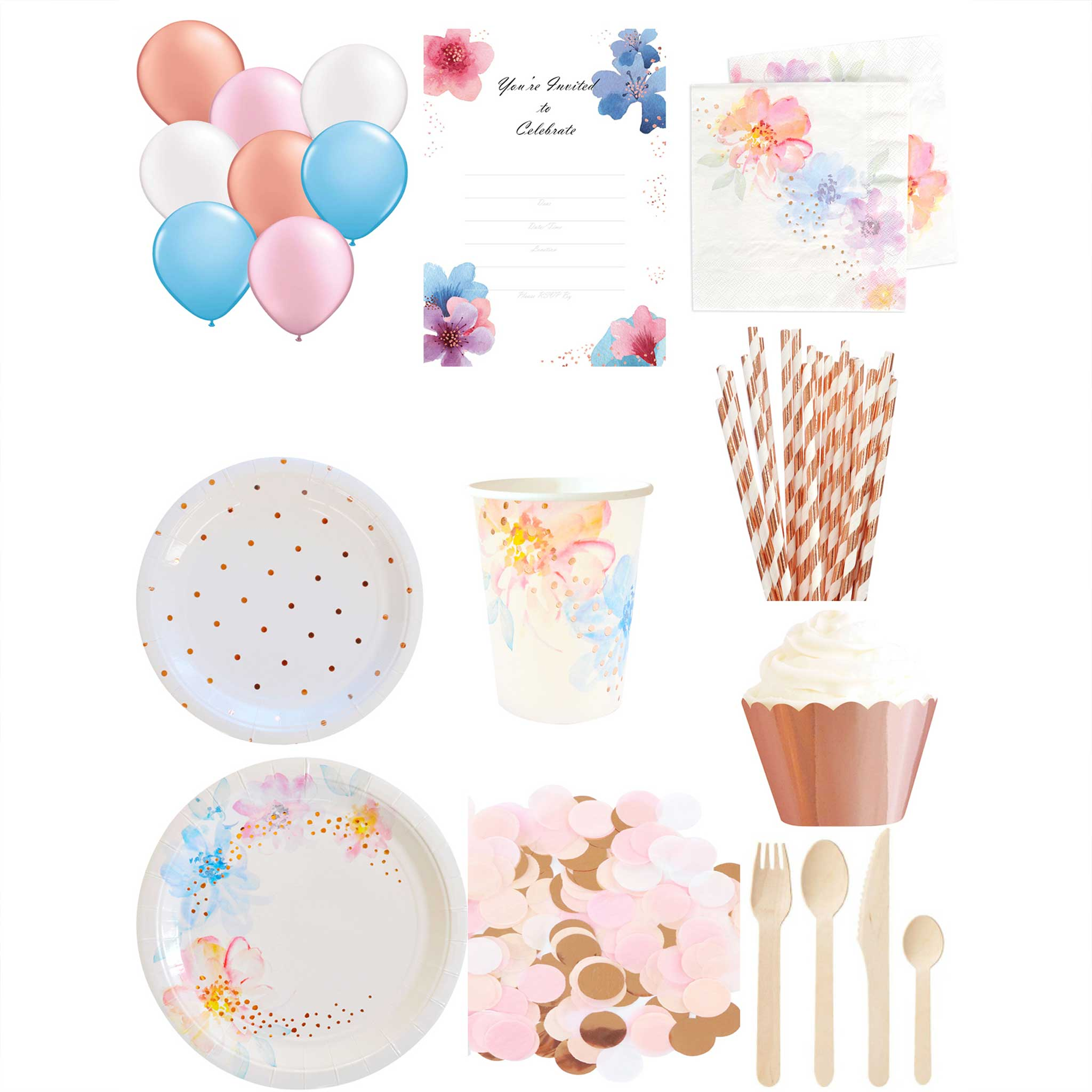 Floral and Rose Gold Essential Party Pack - for 10 people - The Party Pack Co