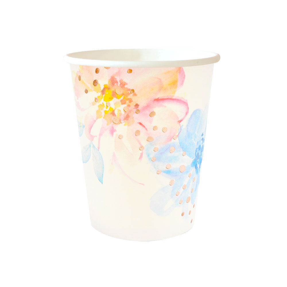 Floral & Rose Gold Foil Cup - 10 Pack - The Party Pack Co