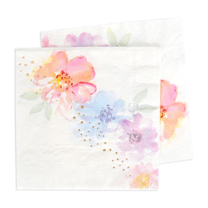 Floral & Rose Gold Foil Luncheon Napkin - 20 Pack - The Party Pack Co