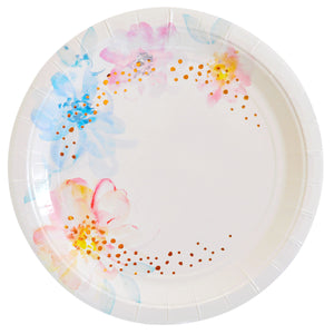 Floral & Rose Gold Foil Large Plate - 10 Pack - The Party Pack Co
