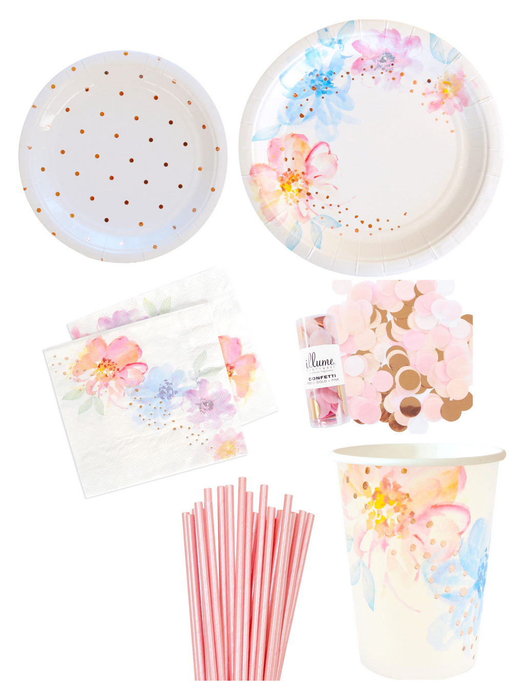 Floral & Rose Gold Tableware Party Pack - The Party Pack Co