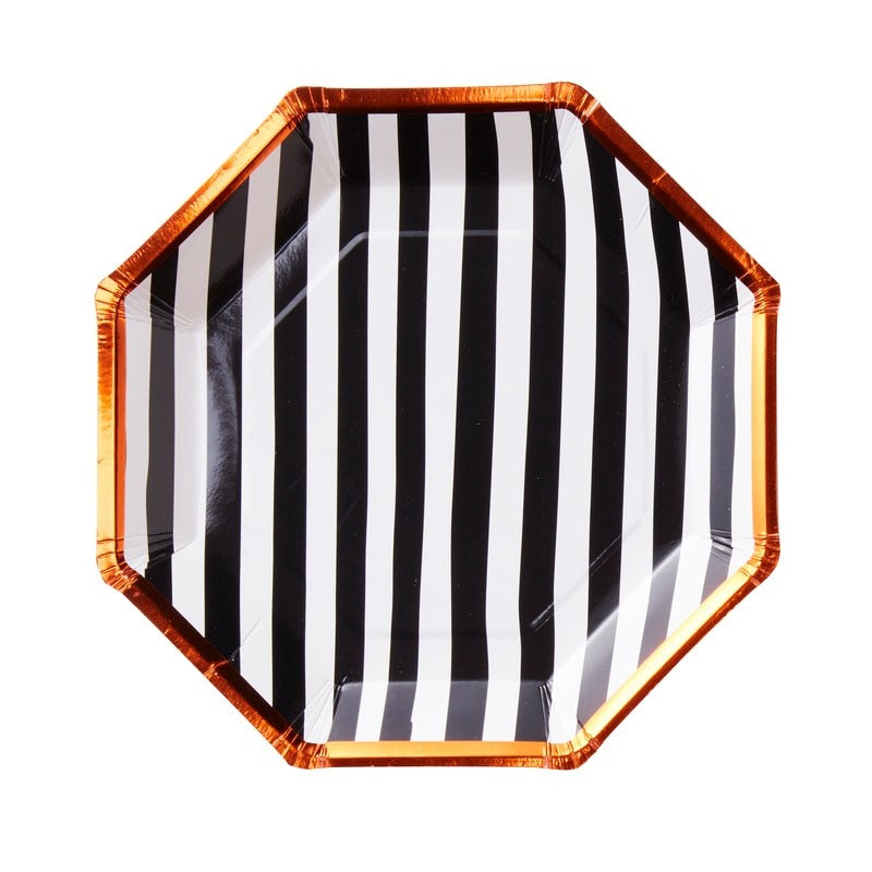 Orange Black and White Striped Plates - The Party Pack Co