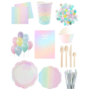 Iridescent Rainbow Essential Party Pack- up to 10 people - The Party Pack Co
