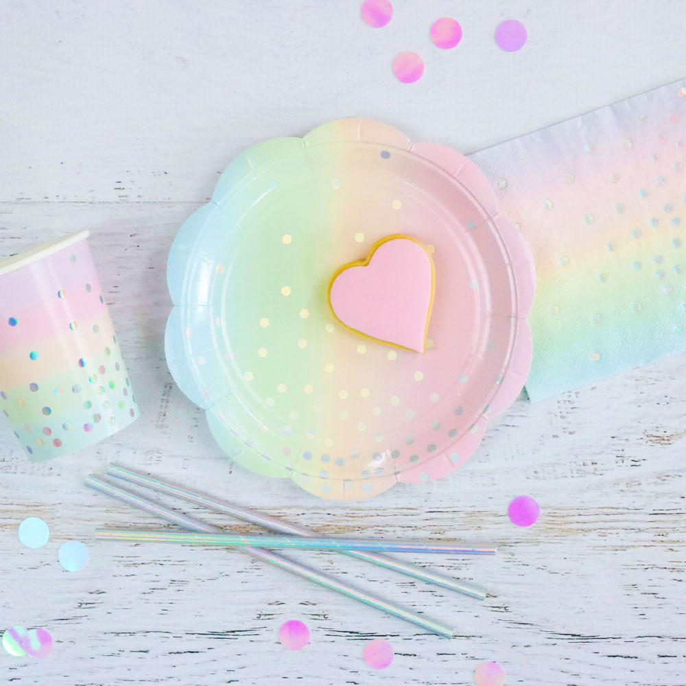 Iridescent and Pastel Ombre Dessert Plate -Pack of 10 - The Party Pack Co