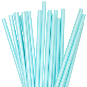 Blue Pastel Foil Paper Straws - 25 Pack - The Party Pack Co