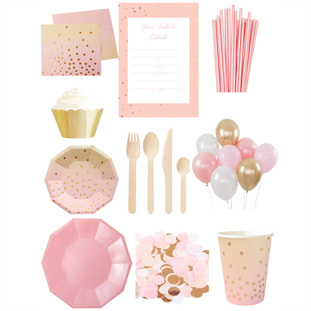 Pink and Gold Essential Party Pack- up to 10 people - The Party Pack Co