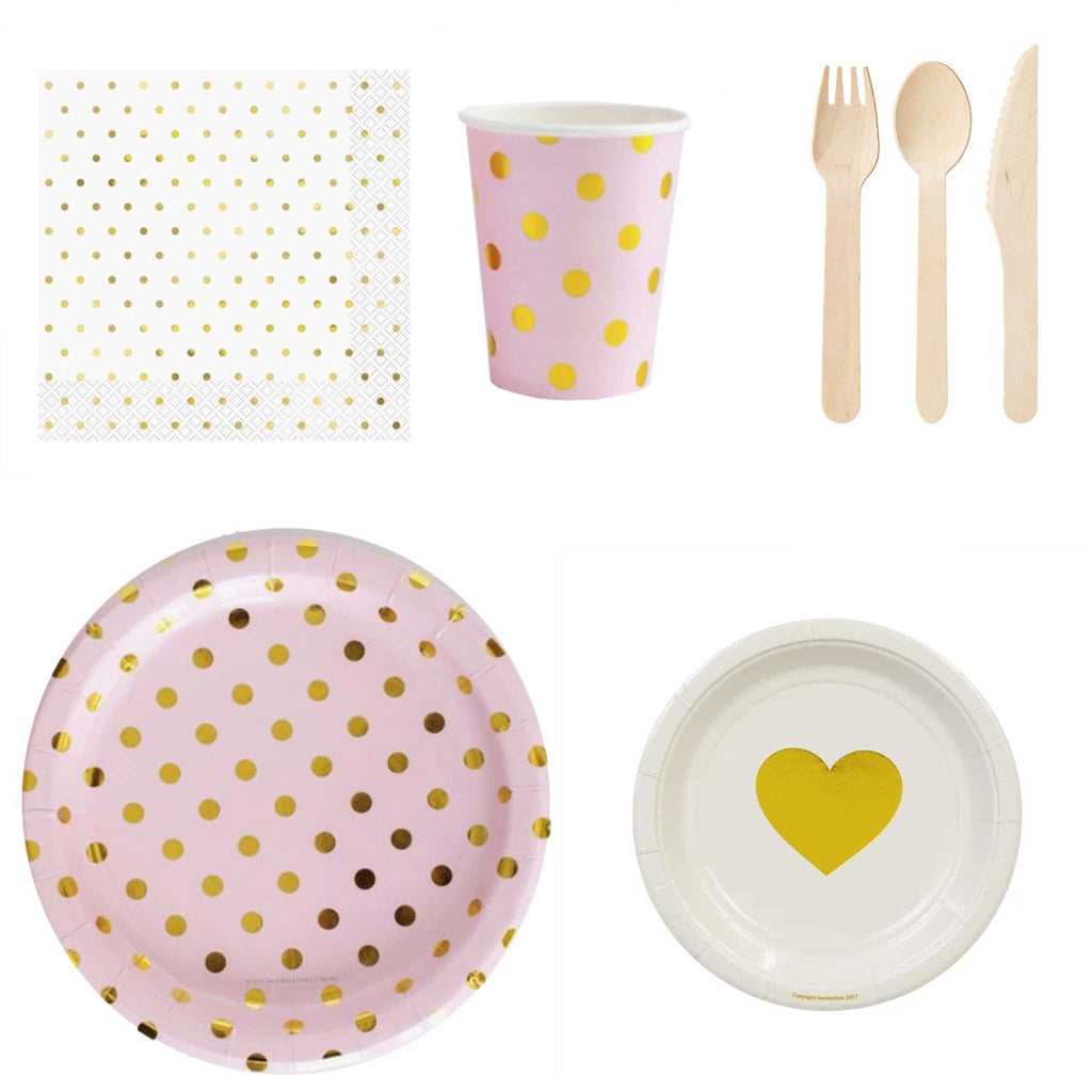 "Mini Home Party Pack - Pink and Gold ""Love You"" (up to 12 people) - The Party Pack Co"