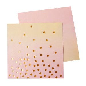Pink & Peach with Gold Foiling Cocktail Napkin - 20 Pack - The Party Pack Co