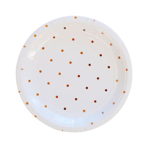Rose Gold Spotted Dessert Plate - 10 Pack - The Party Pack Co