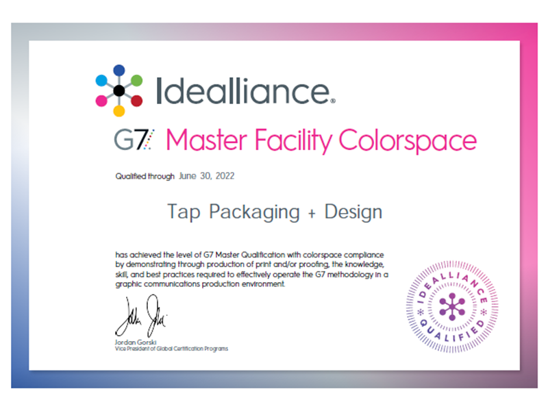 G7 Certificate for G7 Master Colorspace