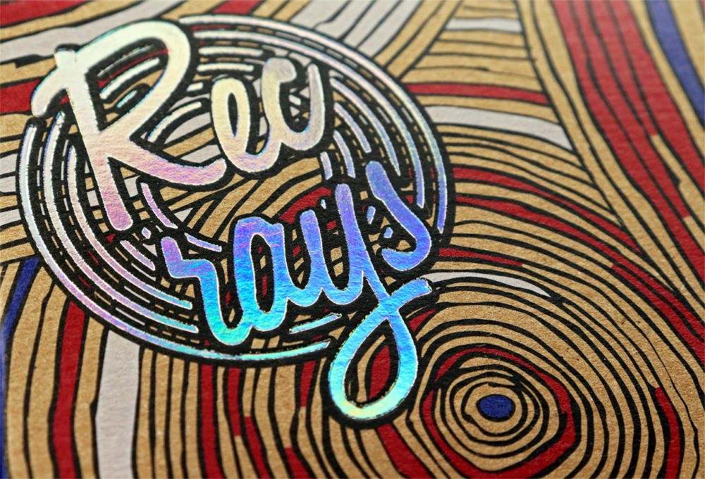 Close-up of Rec Rays logo foil stamping on front of box