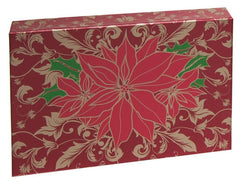 red poinsettia metallic packaging