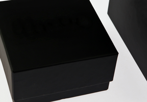 Close-up of a black custom rigid box with Soft Touch Coating
