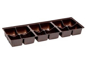 12 piece two row brown candy tray for artisan truffle boxes