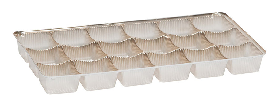 brown 18 piece candy tray with three rows of six