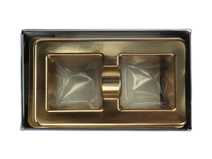 top of 2 piece black truffle slide with clear lid and gold candy tray