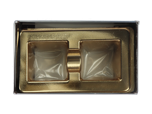 top of 2 piece brown truffle slide with clear lid and gold candy tray