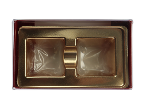 top of 2 piece maroon truffle slide with clear lid and gold candy tray