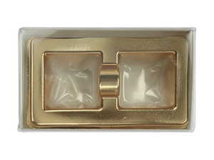 top of 2 piece white truffle slide with clear lid and gold candy tray