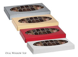 Two-Piece Folding Candy Box Lid with Oval Window (12pc)