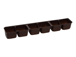 6 piece single row brown candy tray for artisan truffle tray