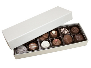 12 piece white Artisan Truffle Box with lid off showing a brown candy tray with chocolates inside