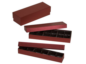 Red artisan truffle box displayed in 6 piece, 12 piece, and 24 piece size