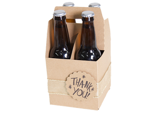 kraft 4 piece bottle beverage holder with 4 glass bottles and ribbon around the holder decorated with a Thank You tag