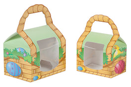 Front of small and large Easter egg basket box with window sitting next to each other