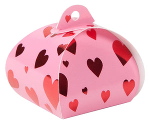 Angled view of hearts single truffle tote which is pink with red foil hearts