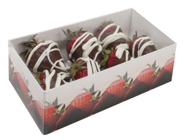 chocolate covered strawberry auto bottom box base with clear lid and chocolate covered strawberries inside