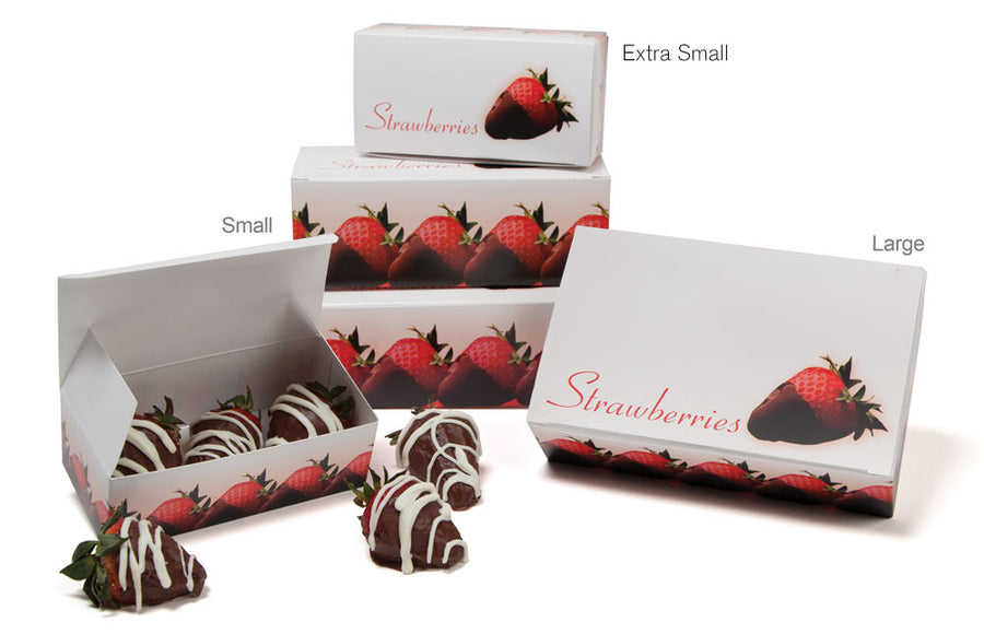 Strawberry Auto Bottom Box decorated with chocolate covered strawberries; One box sits perched on its side on top of the other box