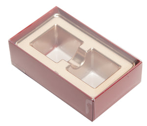 2 piece red truffle slide box with clear lid and gold candy tray inside the box