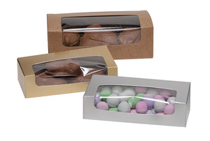 Three auto bottom boxes with windows in Kraft, Gold, and Silver filled with various candies and chocolates