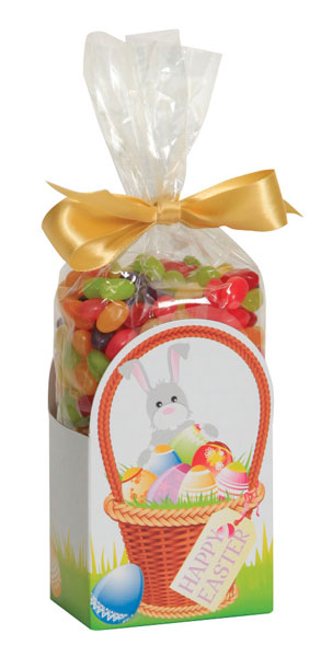 Easter Basket cello caddy featuring an Easter Basket filled with eggs that says Happy Easter and a bunny standing behind the basket. Caddy has a cello bag filled with jelly beans that is tied with a yellow ribbon.