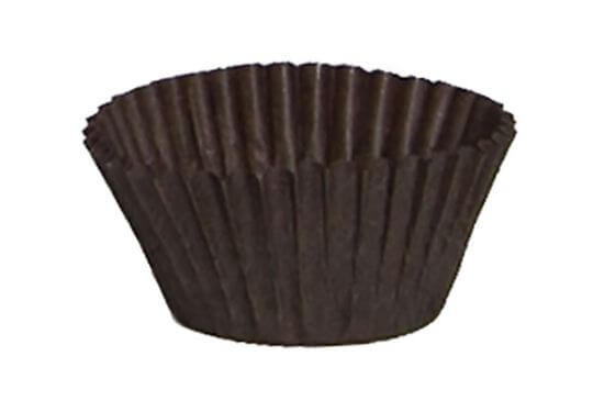 assortment of different sized paper candy cups in either brown or white