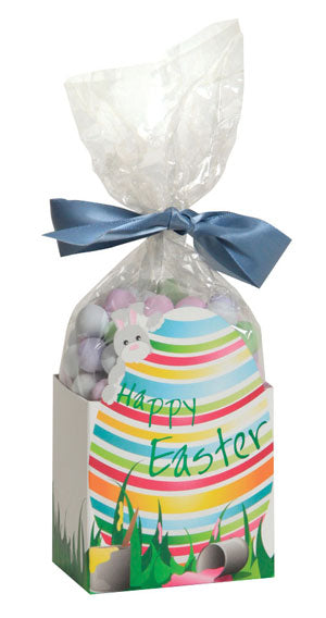 Easter Egg cello caddy with striped Easter egg that says Happy Easter and features a bunny poking out from behind the egg. Caddy is filled with a cello bag that has jordan almonds and is tied with a blue ribbon.