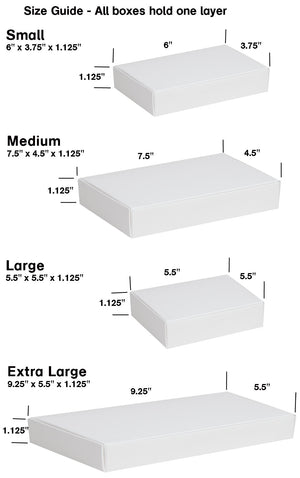 Size guide showing the various sizes of the low profile box