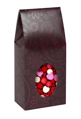 Red paisley tapered tote with window; candy can be seen through the window