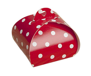 Angled view of single truffle tote which is red with white polka dots