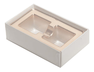 2 piece white truffle slide box with clear lid and gold candy tray inside the box