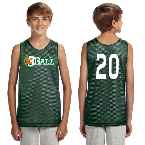 3Ball Green/White Reversible Practice Jersey w/ custom numbers - On Demand Item...takes a few days