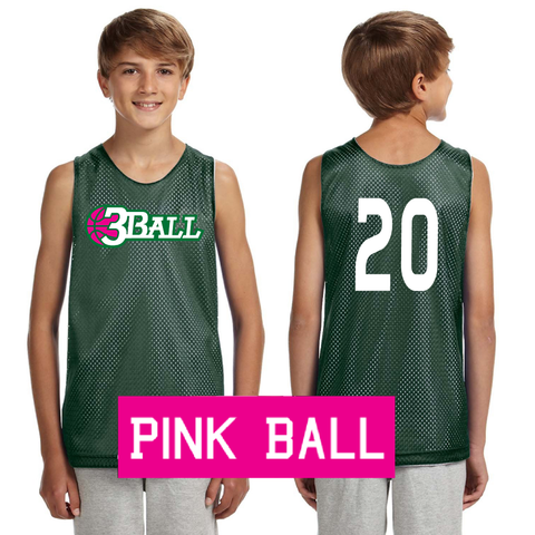 3Ball PINK LOGO Green/White Reversible Practice Jersey w/ custom numbers - On Demand Item...takes a few days