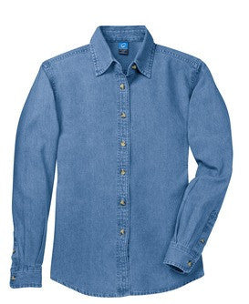 CP NRES20 - Ladies' Long Sleeve Denim Shirt