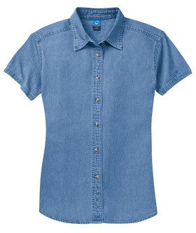 CP NRES19 - Ladies' Short Sleeve Denim Shirt